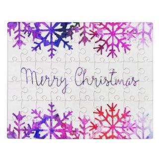 Puzzle Felices copos de nieve púrpuras y rosados de