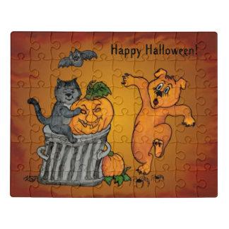Puzzle ¡Feliz Halloween! Perro y araña del palo del gato