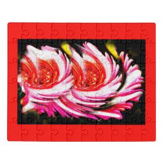 Puzzle Flores festivas rojas