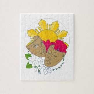 Puzzle Flujo filipino de Sampaguita del hibisco de Sun de