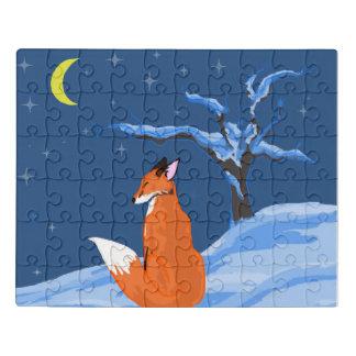 Puzzle Fox de la noche del invierno