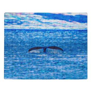 Puzzle Fractal de la cola de la ballena azul y rosado