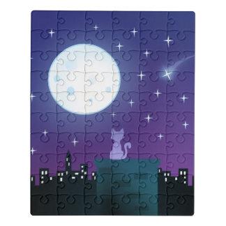 Puzzle Gato bajo claro de luna