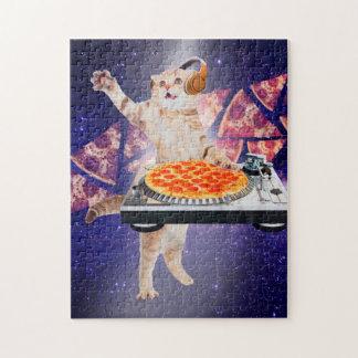 Puzzle gato de DJ - gato DJ - gato del espacio - pizza