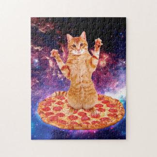 Puzzle gato de la pizza - gato anaranjado - espacie el