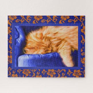 Puzzle Gato de Tabby anaranjado con la pintura floral