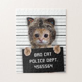 Puzzle gato del mugshot - gato loco - gatito - felino