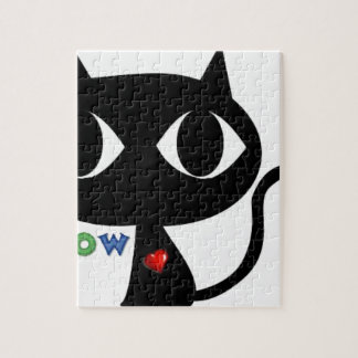 Puzzle Gato negro Silhouett con el corazón rojo y el