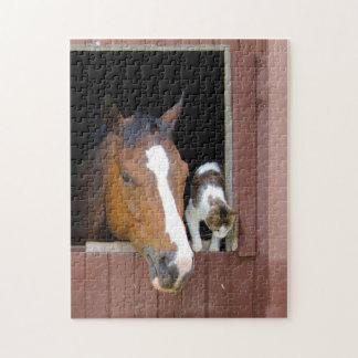 Puzzle Gato y caballo - rancho del caballo - amantes del