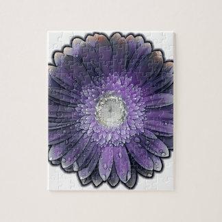 Puzzle Gerbera púrpura de la lluvia
