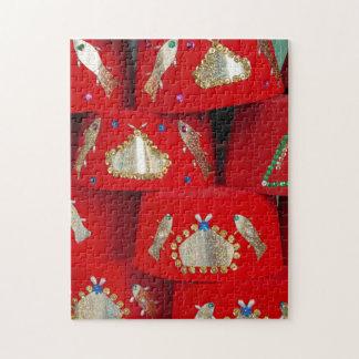 Puzzle Gorras rojos de Fes en el mercado
