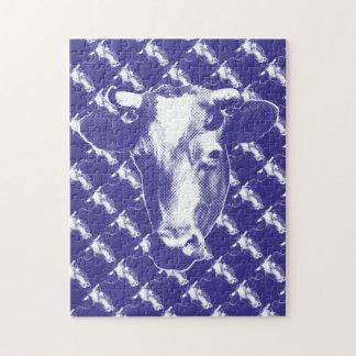 Puzzle Gráfico púrpura de la vaca del arte pop
