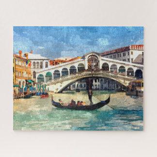 Puzzle Grande pintura de la acuarela del canal colorido