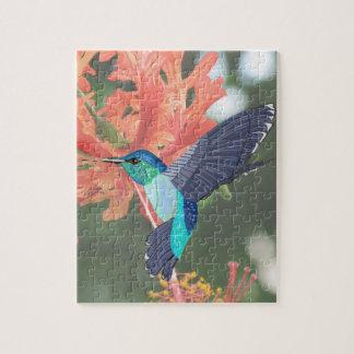 Puzzle Hibisco azul y verde del colibrí y del naranja