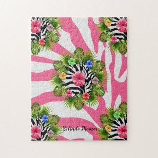 Puzzle Hibisco tropical y rayas rosadas exóticas de la