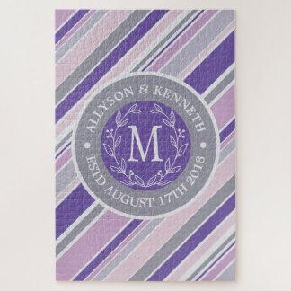 Puzzle Hoja púrpura del laurel de las rayas de moda de la