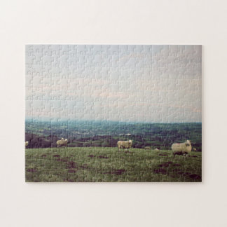 Puzzle Horizonte Galés de las ovejas del paisaje de la