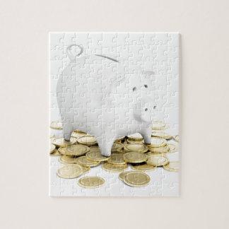 Puzzle Hucha y monedas