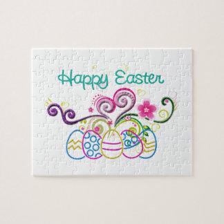 Puzzle Huevos del brillo de Pascua y floral felices