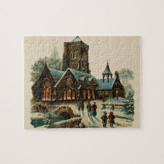 Puzzle Iglesia del invierno en el ilustracion del vintage