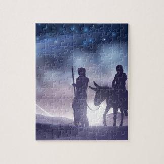 Puzzle Ilustracion Maria y José del navidad de la
