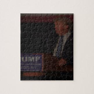 Puzzle Imagen de Donald Trump hecha de muestras de dólar