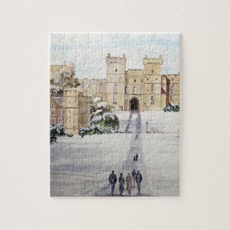 Puzzle Invierno en el castillo de Windsor por la pradera