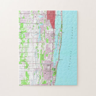 Puzzle Lago vintage digno de y mapa de FL de la playa de