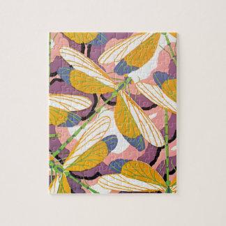 Puzzle Libélulas del jardín de Pochoir del jazz del art
