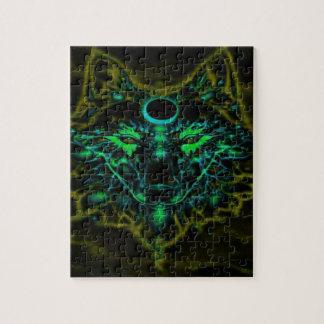 Puzzle Lobo amarillo de neón mítico