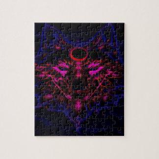 Puzzle Lobo azul de neón mítico