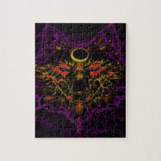 Puzzle Lobo púrpura de neón mítico