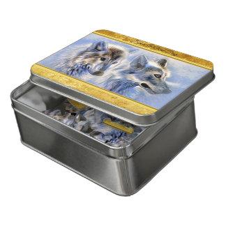 Puzzle Lobos azules y blancos del hielo con textura del