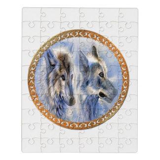 Puzzle Lobos azules y blancos del hielo que buscan la