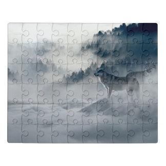 Puzzle Lobos en paisaje del invierno Nevado