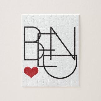 Puzzle Logotipo del corazón de la palabra de Oregon de la