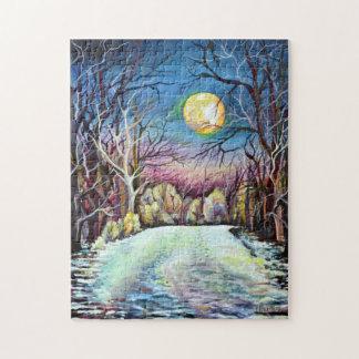 Puzzle Luna Llena del invierno silencioso de la noche en