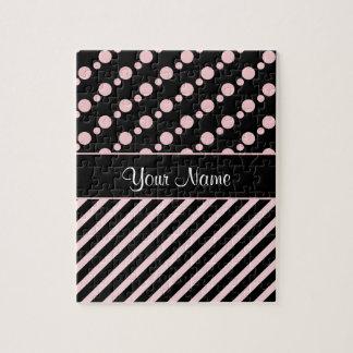Puzzle Lunares y rayas rosados en fondo negro