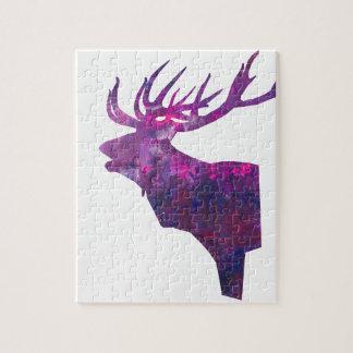 Puzzle Macho principal de los ciervos en lila