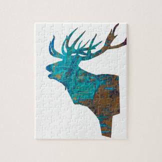 Puzzle macho principal de los ciervos en turqouis y