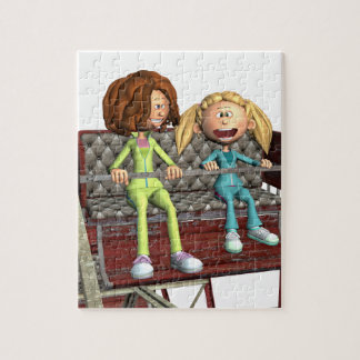 Puzzle Madre e hija del dibujo animado en una noria