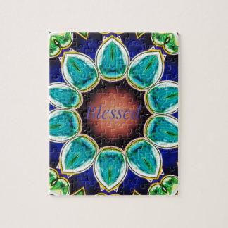 """Puzzle Mandala """"bendecida"""" subió turquesa elegante fresca"""