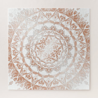 Puzzle Mandala blanca del damasco del oro color de rosa