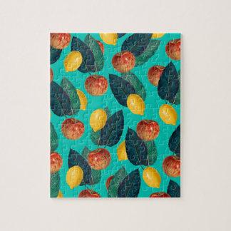 Puzzle manzanas y limones verde azulados
