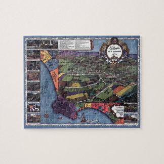Puzzle Mapa antiguo, ciudad aérea de Los Ángeles