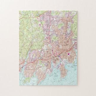 Puzzle Mapa de Stamford Connecticut (1987)