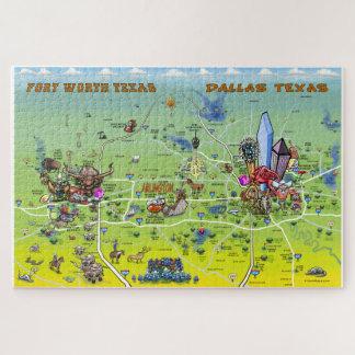 Puzzle Mapa del dibujo animado de Dallas Fort Worth