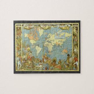 Puzzle Mapa del mundo antiguo del Imperio británico, 1886