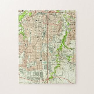 Puzzle Mapa del vintage de Fort Worth Tejas (1955)