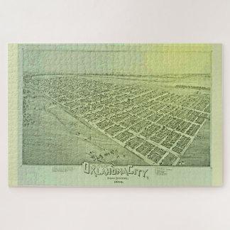 Puzzle Mapa ilustrado del vintage del Oklahoma City en